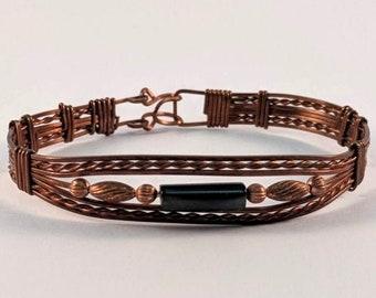 Wire Wrapped Copper Onyx Tube Bracelet  Cuff
