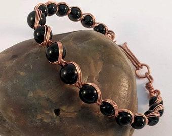 Earth's Heart Obsidian Copper Bracelet - Dragon Glass Wire Wrap Bead
