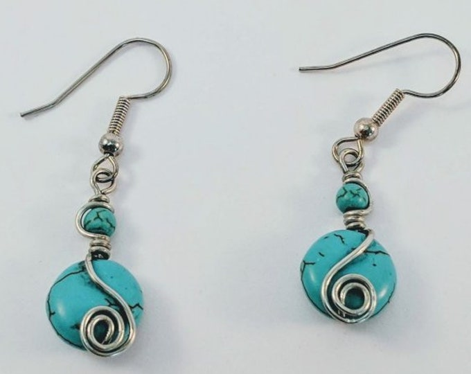 Turquoise Earrings with Sacred Spiral - Wire Wrap December Birthdays