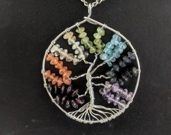 Tree of Life Pendant - Chakra Human Energy Field - Natural Stones
