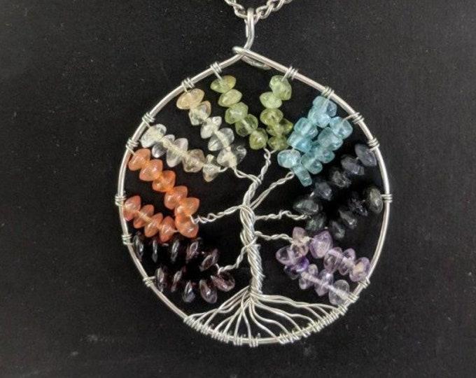 Tree of Life Pendant - Chakra Human Energy Field - Natural Stones