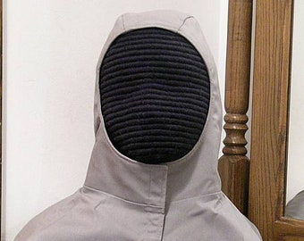 Gold Gray or Brown Red SCA Rapier Armor - Undermask Fencing Hood
