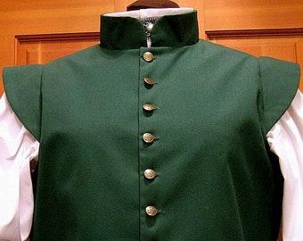 2 in stock! Medium Green Fencing Jerkin Doublet - Gipsy Peddler SCA Rapier Armor