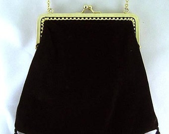 Three Tassel Black Velveteen Shoulder Purse - Renaissance