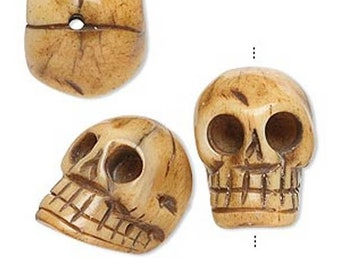 Three Bone Carved Skull Bead - Paternoster - Memento Mori