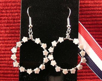Betsy Ross Earrings - Thirteen Stars - Patriotic Hoops