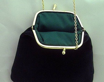 Green Velveteen Shoulder Purse - Renaissance - Victorian