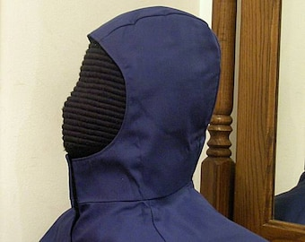 Navy Blue Undermask Fencing Hood - SCA Rapier Armor - Arming Cap Coif