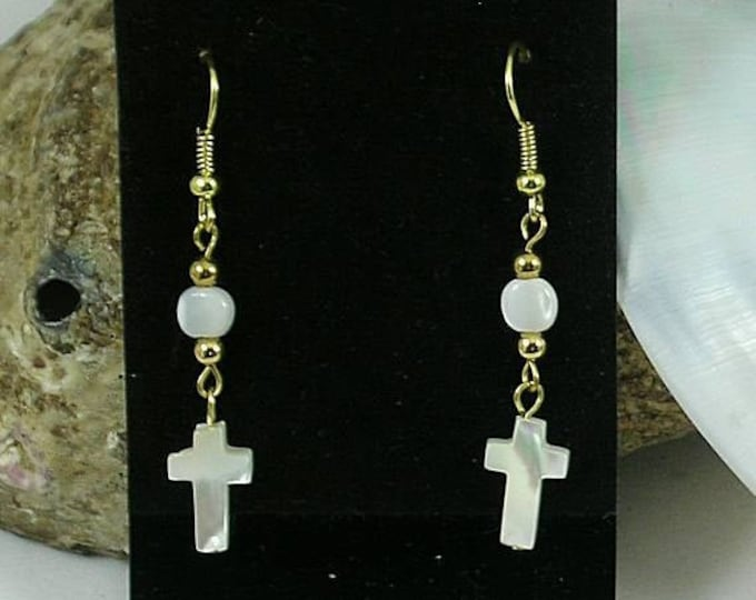 Mother of Pearl Cross Earrings - Renaissance - Elizabethan - Italian