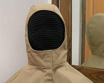 Khaki Tan Undermask Fencing Hood - SCA Rapier Armor - Arming Cap Coif