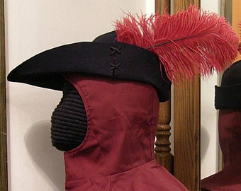 Felt Bycocket - Laced Gothic Hat - Hunter's Cap - SCA Robin Hood Hat