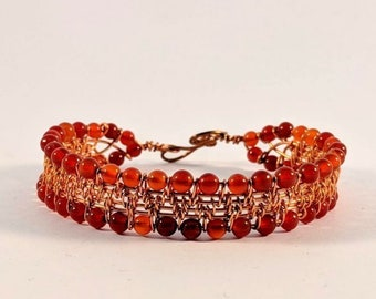 Sexy Carnelian Cuff - Woven Wire Bracelet - Protection - Peace - Egypt