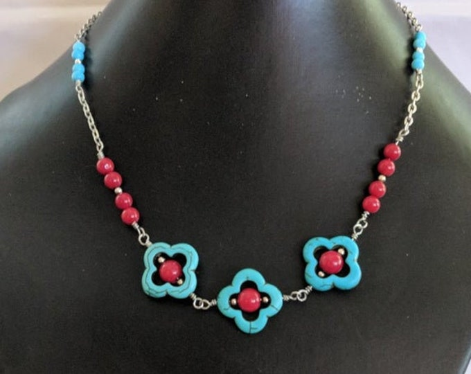 Lucky Quatrefoil Turquoise Earrings Necklace White Bone or Red Coral Beads