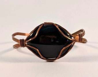 Black Onyx Copper Wire Wrapped Cuff - Protection Healing Energy Flow