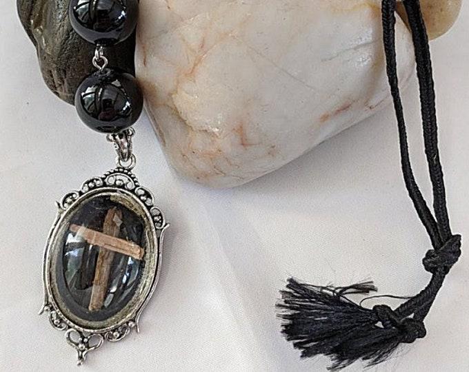 Cross Relic on Black Onyx Chaplet Paternoster Rosary - Pendant #2