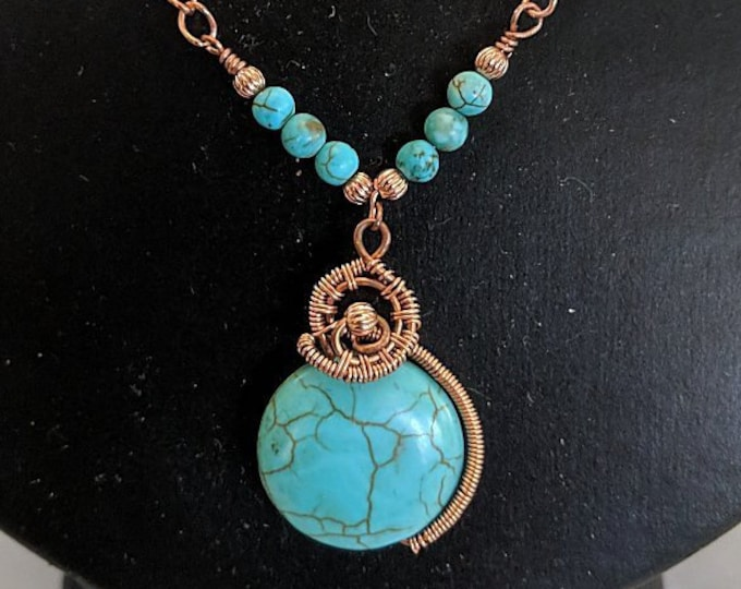 Turquoise Coin Spiral Wire Wrapped Bead Linked Copper Chain Necklace