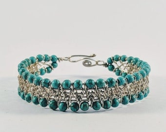 Aztec Tribal Native American Turquoise Cuff Woven Silver Wire Bracelet
