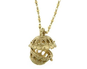 Pomander Basket Locket on Chain - Elizabethan Renaissance - Victorian
