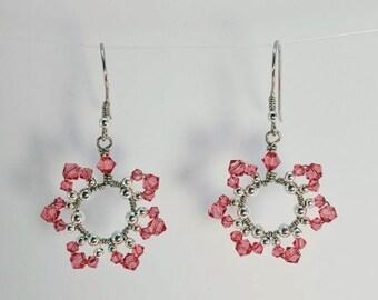 October Birthday Flower Earrings - Pink Tourmaline Swarovski Crystals