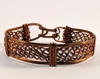 Wire Wrapped Copper Basket Weave Bracelet  Cuff - Good Luck Bracelet