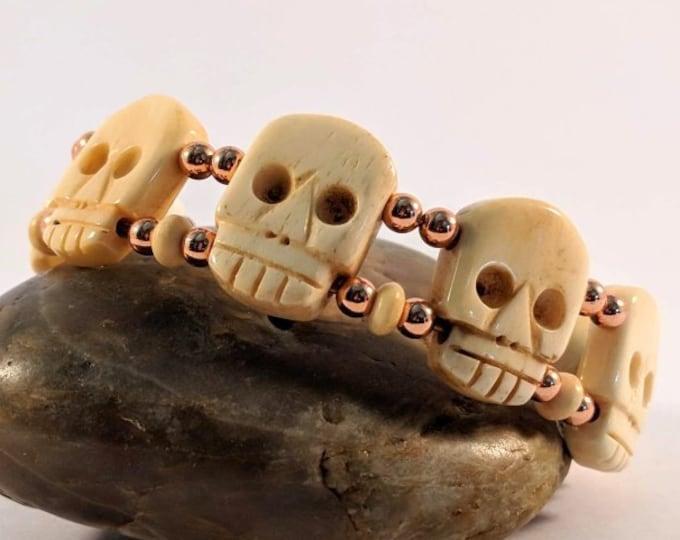 Gothic - Memento Mori - Remember Death - Bone Skull Bracelet Copper