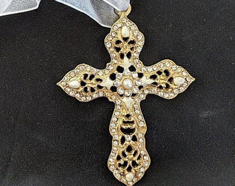 Pearl and Crystal Cross Pendant - Renaissance - Victorian