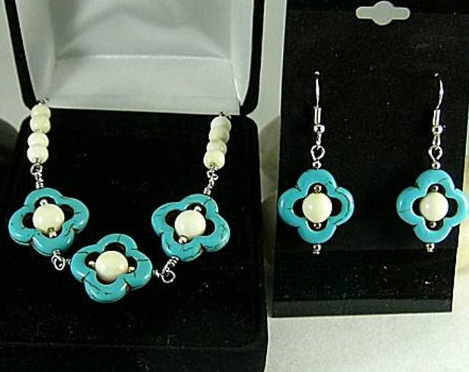 Lucky Quatrefoil Turquoise Earrings Necklace White or Red Coral Beads