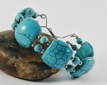 Bold Turquoise Rectangle Cuff - Aztec - Native American Bracelet