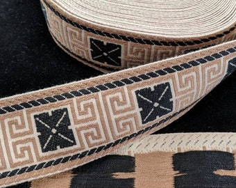 Woven Black and Brown Trim - Greek Key Design - SCA Garb
