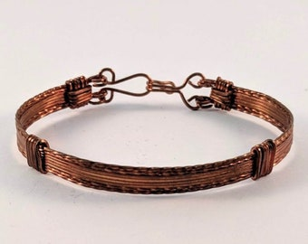Wire Wrapped Plain Copper  Bracelet  Cuff