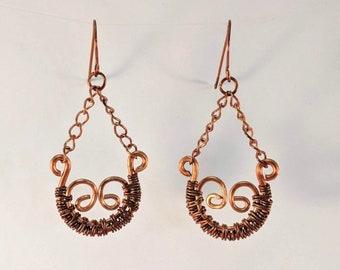 Scroll Wire Wrapped Copper Earrings