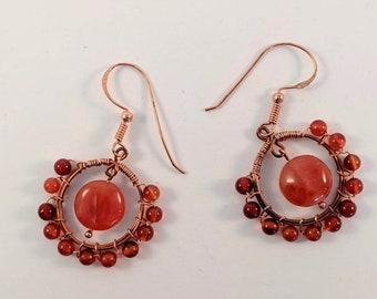 Carnelian Wire Wrapped Hoops - Copper Dangle Earrings