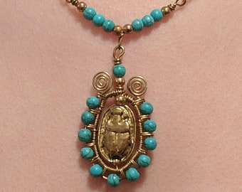 Scarab Chain Necklace with Turquoise Wire Wrapped Beads - Egyptian