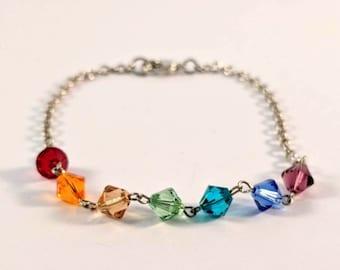 7 Chakras Swarovski Crystal and Chain Bracelet - Chakra Balancing