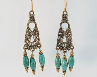Queen Cleopatra Turquoise Dangle Earrings - Egyptian