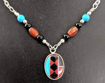 Native American Turquoise Coral Onyx Inlay Necklace - Tribal Jewelry