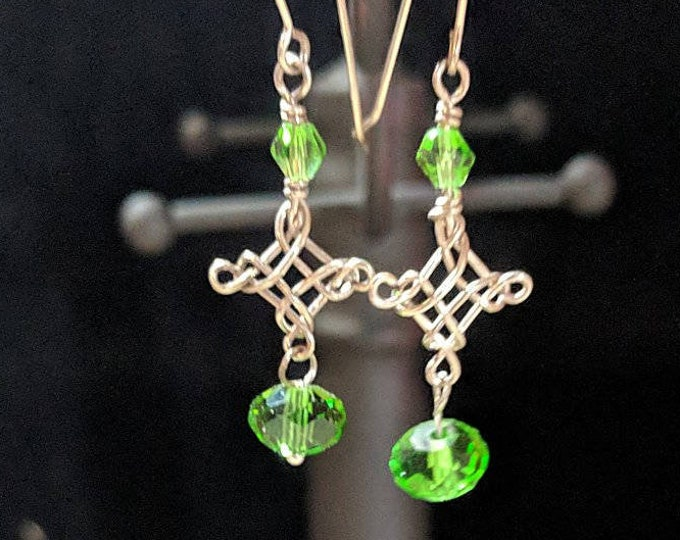 Celtic Cross Earrings - Irish Green Crystals - St. Patrick's Day