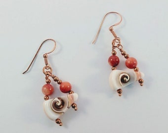 Shell Sacred Spiral Earrings w/ Natural Shell Beads - Copper Ear Wires