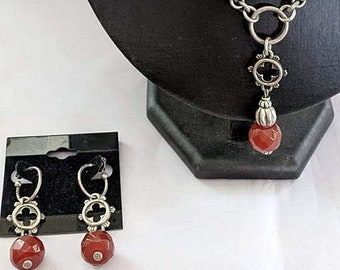 Faceted Carnelian Gothic Necklace and Earrings - Vintage - Victorian
