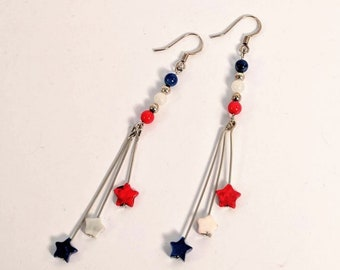 Red, White and Blue Star Dangle Earrings - 4th of July - Patriotic