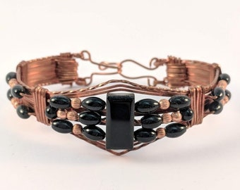 Wire Wrapped Copper Onyx Bracelet  Cuff