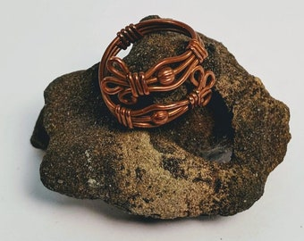 Adjustable Wire Wrapped Copper Ring with Round Beads