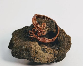 Adjustable Wire Wrapped Copper Ring with Oval Beads
