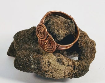 Layered Sacred Spirals - Wire Wrapped Copper Ring