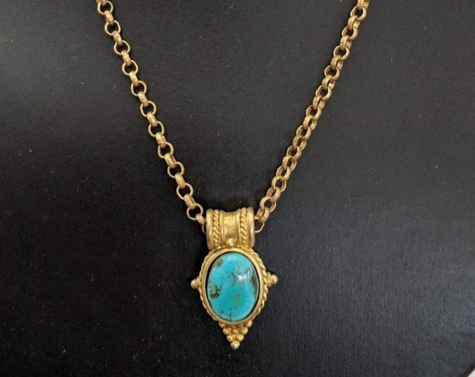 Vintage Turquoise Egyptian Revival Pendant with Chain - Victorian - Egyptian