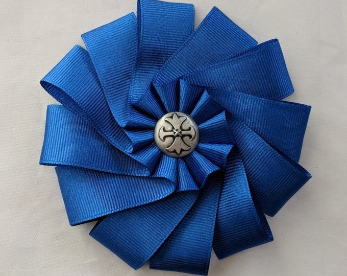 Celtic Wales - Cambria Cross on Folded Ribbon Cockade - Fleury Pattee