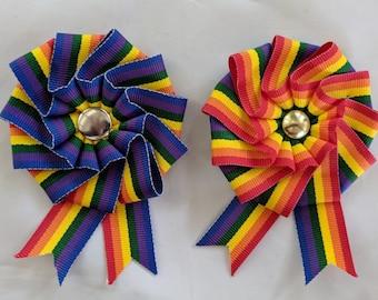 Small Folded Rainbow Cockade for Hats or Clothing - LGBTQ Pride Ribbon