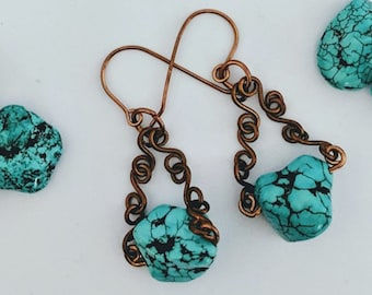 Copper Links Turquoise Nugget Earrings - Mayan - Aztec - Southwest