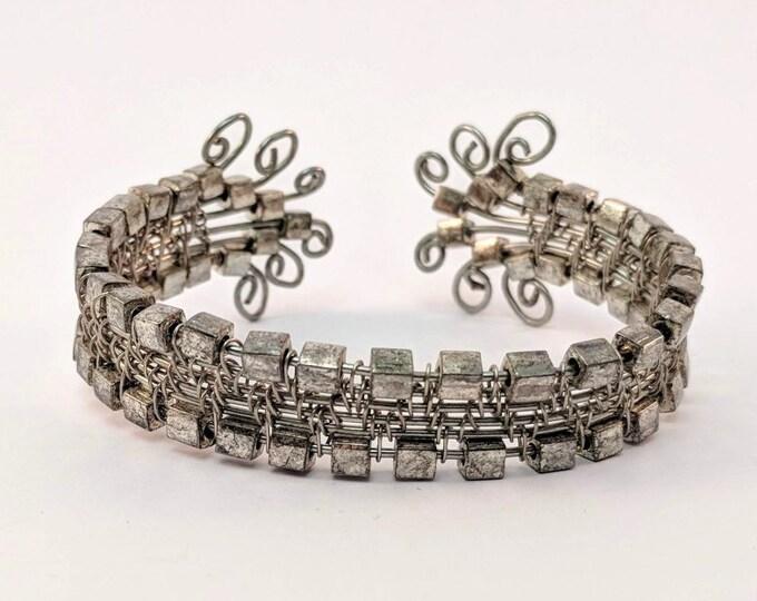 Silver Beaded Cuff -  Woven Silver Wire Bracelet
