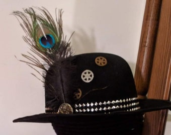 Steampunk Bowler - 19th C. Derby Studded Hatband - Felt Hat Gears